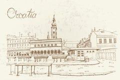 Vektorn skissar av marknad i Zagreb royaltyfri illustrationer