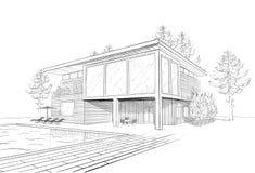 Vektorn skissar av modernt hus med swimmingpoolen Arkivfoto