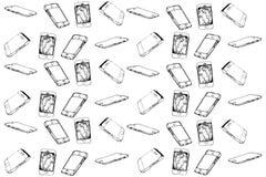 Vektorn skissar av pekskärmmobiltelefonen Arkivbilder