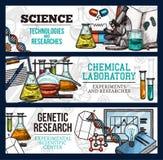 Vektorn skissar baner för vetenskap och forskning vektor illustrationer