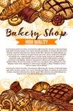 Vektorn skissar brödaffischen för bageri shoppar vektor illustrationer