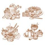 Vektorn skissar efterrätter, och bakelse för bageri shoppar royaltyfri illustrationer