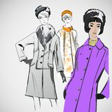 Vektorn skissar flickor i modekläder eps Royaltyfri Fotografi