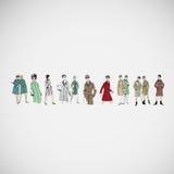 Vektorn skissar flickor i modekläder eps Royaltyfri Bild