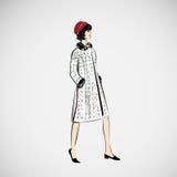 Vektorn skissar flickor i modekläder eps Arkivfoto