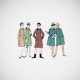 Vektorn skissar flickor i modekläder eps Royaltyfria Foton