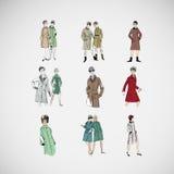 Vektorn skissar flickor i modekläder eps Arkivbilder