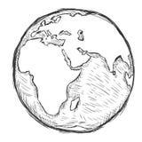 Vektorn skissar illustrationen - jordklot stock illustrationer