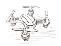 Vektorn skissar illustrationen med det obemannade flyg- medlet arkivfoto