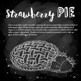 Vektorn skissar jordgubbepajreciep, kalkar konst, den hand drog illustrationen på en svart tavla vektor illustrationer