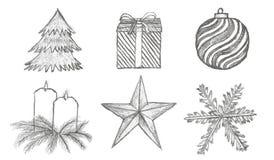 Vektorn skissar julsymboler royaltyfri illustrationer