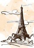 Vektorn skissar stilillustrationen av Eiffeltorn france paris royaltyfri illustrationer