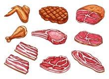 Vektorn skissar symboler för köttslaktareprodukter Royaltyfria Foton