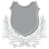 Vektorn skissar - vapensköldar, sköldar och lagerkransar vektor illustrationer