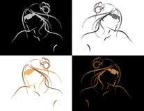 Vektorn skisserar av kvinna i solglasögon Arkivbilder