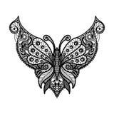 Vektorn snör åt urringningen Halstryck med fjärilsform och den blom- prydnaden royaltyfri illustrationer