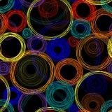 Den Seamless abstrakt begrepp mönstrar med kulört cirklar Arkivfoto