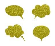 Vektorn som blänker guld- samtalbubblor, ställde in, komiker som beståndsdelar isolerade, guldstofttextur stock illustrationer