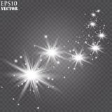 Vektorn som glöder stjärnor, ljus och, mousserar Genomskinliga effekter royaltyfri illustrationer