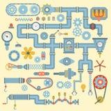 Vektorn som robotic maskineridelar sänker symboler, ställde in design för tillverkningsarbetsdetalj Bransch för del för mekanisk  royaltyfri illustrationer