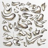 Vektorn ställde in av abstrakta droppar för vätskemetall stock illustrationer