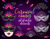 Vektorn ställde in av beståndsdelar för karneval vektor illustrationer
