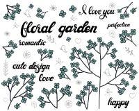 Vektorn ställde in av blom- filial Klotterbeståndsdelar med gulliga blåa blommor Design för romantisk hälsa kort- eller inbjudanb stock illustrationer