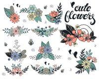Vektorn ställde in av blom- filial och bukett stock illustrationer