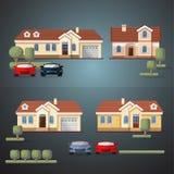 Vektorn ställde in av bosatta husbilar och träd vektor illustrationer