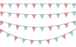 Vektorn ställde in av dekorativa partistanderter med olika format och längder Fira flaggor Regnbågegirland garneringen för födels vektor illustrationer