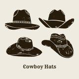 Vektorn ställde in av den olika cowboyHats konturn vektor illustrationer