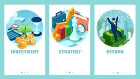 Vektorn ställde in av en affärsman som gör smarta finansiella beslut stock illustrationer
