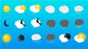 Vektorn ställde in av en symbol av väder vektor illustrationer