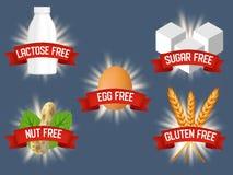 Vektorn ställde in av etiketter för fria produkter för allergen royaltyfri illustrationer