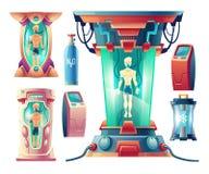 Vektorn ställde in av futuristisk utrustning för vinterdvala stock illustrationer