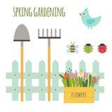 Vektorn ställde in av gullig arbeta i trädgården plats vektor illustrationer