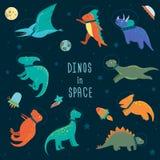 Vektorn ställde in av gulliga dinosaurier i yttre rymd stock illustrationer