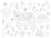Vektorn ställde in av gulliga enhörningar, regnbågen, moln, kristaller, hjärtor, blommaöversikter royaltyfri illustrationer