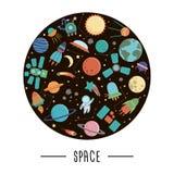 Vektorn ställde in av gulliga yttre rymdbeståndsdelar med rymdskeppet, planeter, stjärnor, ufo royaltyfri illustrationer
