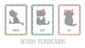 Vektorn ställde in av handlingbildkort med katten stock illustrationer