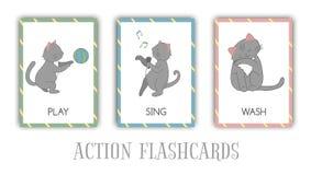 Vektorn ställde in av handlingbildkort med katten vektor illustrationer