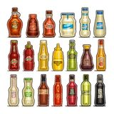 Vektorn ställde in av isolerade flaskor stock illustrationer
