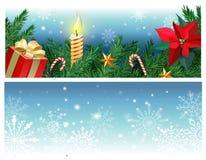Vektorn ställde in av julbaner med granfilialer, järnek, mistelblomman, karamellrottingen, gåvaasken som bränner stearinljuset royaltyfri illustrationer
