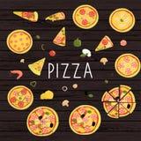 Vektorn ställde in av kulör pizza vektor illustrationer