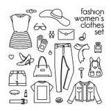 Vektorn ställde in av kvinnors kläder, skor och handväskor stock illustrationer