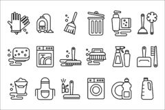 Vektorn ställde in av linjära symboler på rengörande tema Objekt för hushållninghandskar, kvast, dammsugare, golvmopp och hink el vektor illustrationer