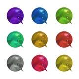 Vektorn ställde in av ljusa färgrika metalliska bubblor för samtalet 3D, olika isolerade färganföranderamar stock illustrationer