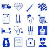 Vektorn ställde in av medicinska symboler med den blåa påfyllningen vektor illustrationer