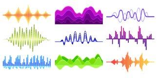 Vektorn ställde in av olika musikvågor Solid puls Digital waveforms Ljudsignal utjämnare Musikalisk teknologi stock illustrationer