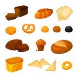 Vektorn ställde in av olika sorter av bröd Tecknad filmstil royaltyfria bilder